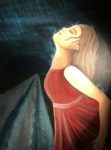 painting of girl in red dress facing upwards with closed eyes
